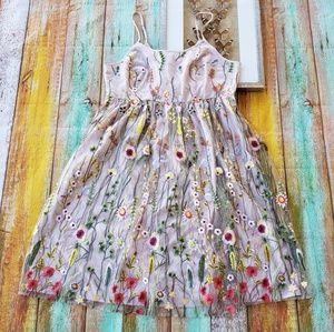 Modcloth Sheer Mesh Floral Embroidered Midi Dress